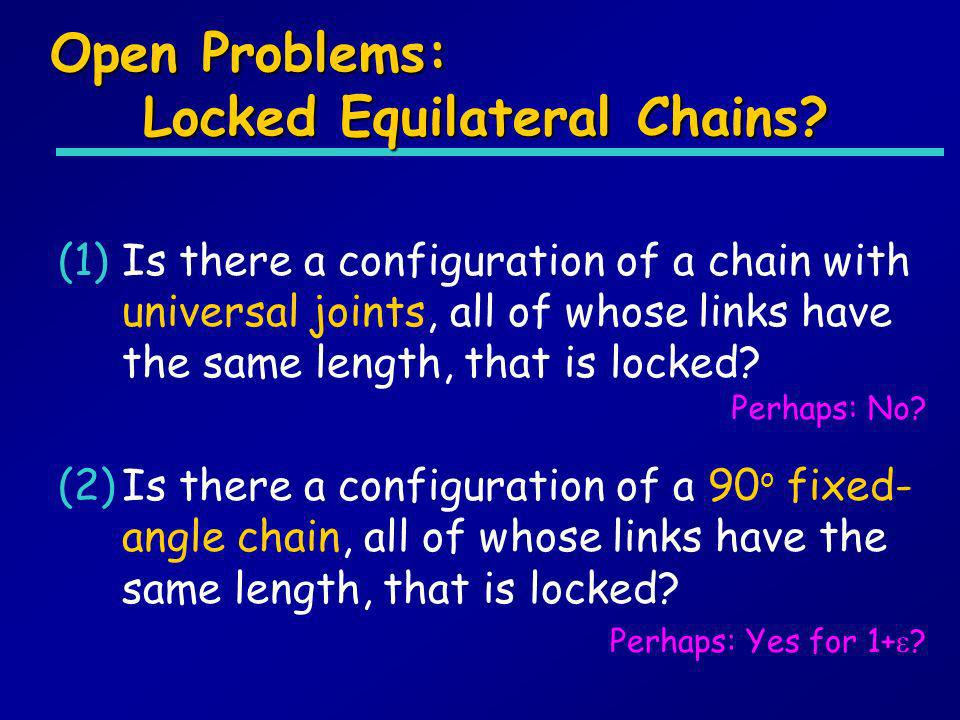 Open Problems: Locked Equilateral Chains