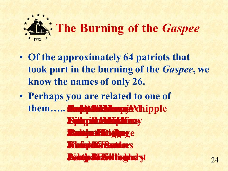 Of the approximately 64 patriots that took part in the burning of the Gaspee, we know the names of only 26.