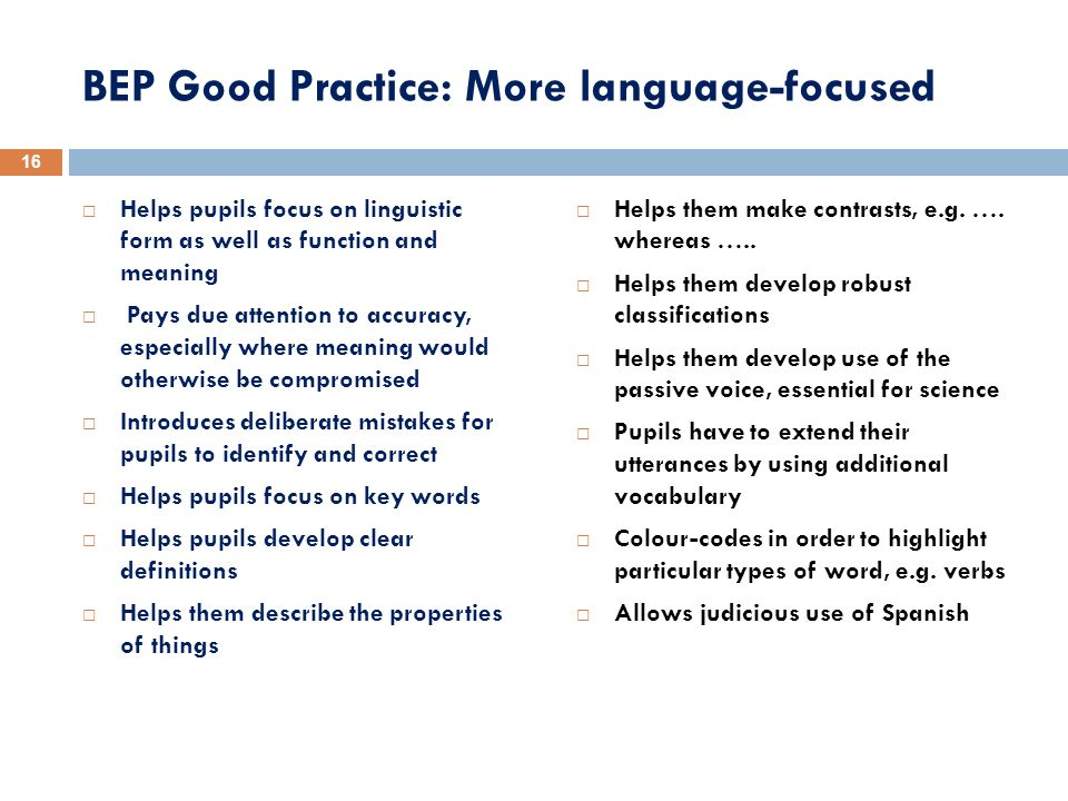 BEP Good Practice: More language-focused