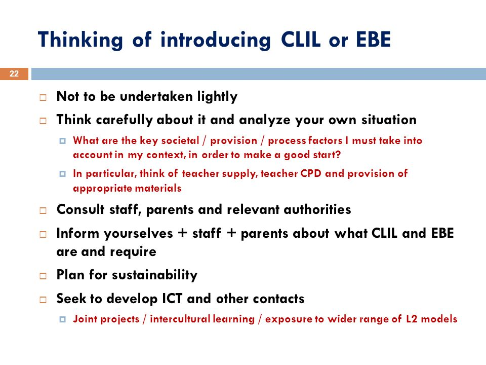 Thinking of introducing CLIL or EBE