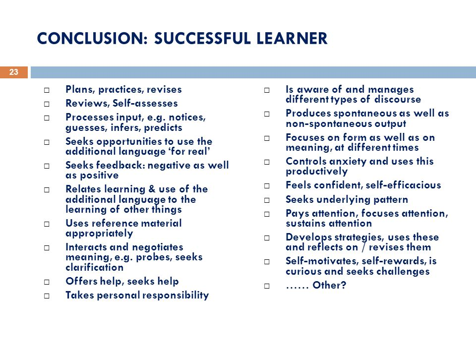 CONCLUSION: SUCCESSFUL LEARNER