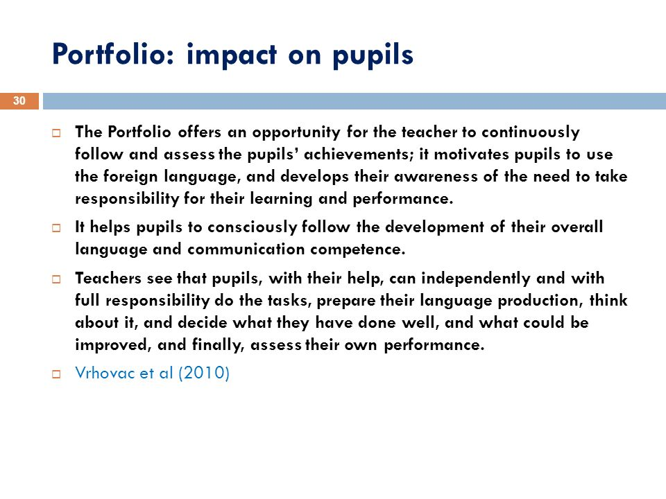 Portfolio: impact on pupils