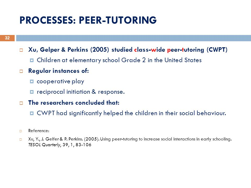 PROCESSES: PEER-TUTORING