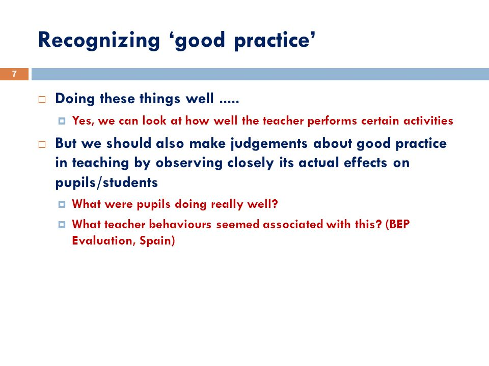 Recognizing 'good practice'