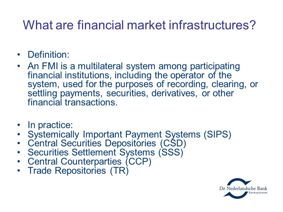 What are financial market infrastructures