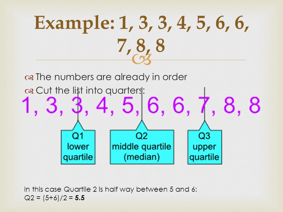 Example: 1, 3, 3, 4, 5, 6, 6, 7, 8, 8 The numbers are already in order