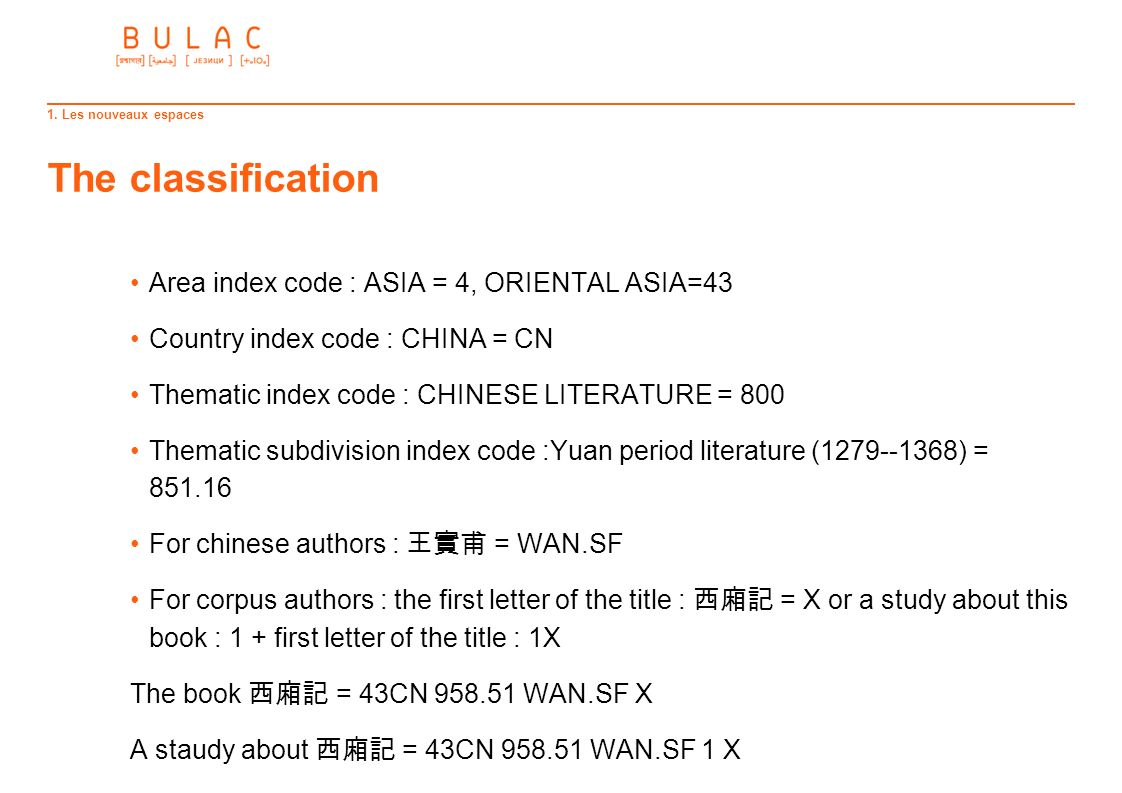 The classification Area index code : ASIA = 4, ORIENTAL ASIA=43
