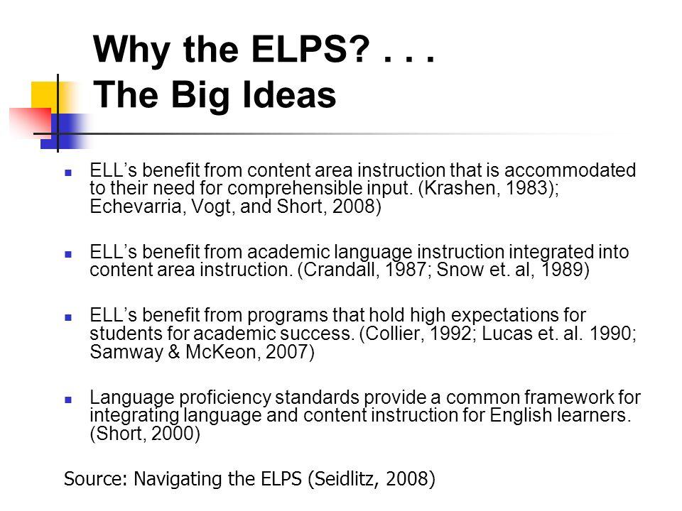 The English Language Proficiency Standards ELPS MODULE 1
