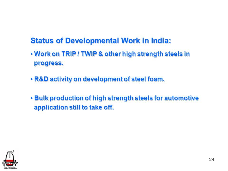 Status of Developmental Work in India: