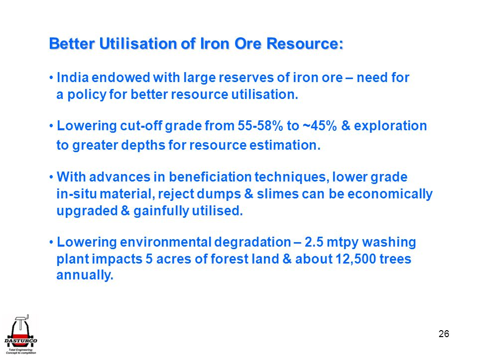 Better Utilisation of Iron Ore Resource: