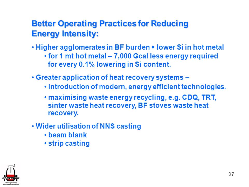 Better Operating Practices for Reducing Energy Intensity: