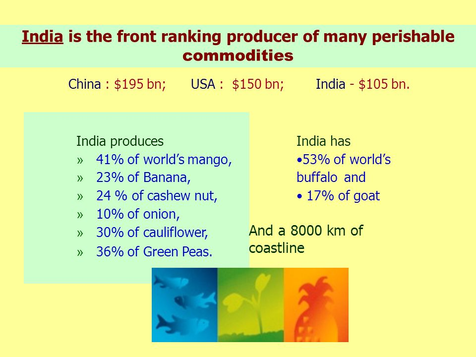 India is the front ranking producer of many perishable commodities