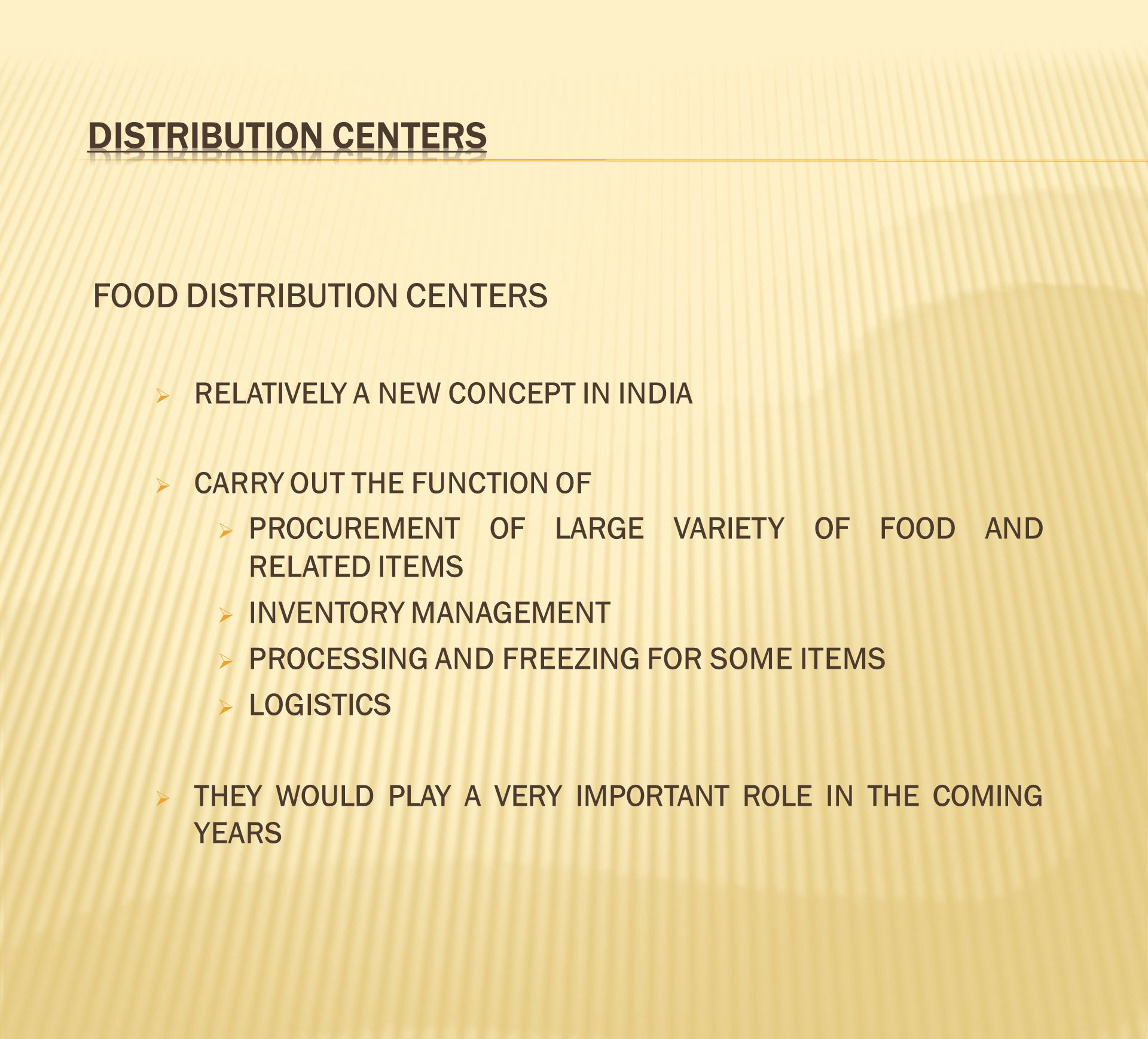 DISTRIBUTION CENTERS FOOD DISTRIBUTION CENTERS