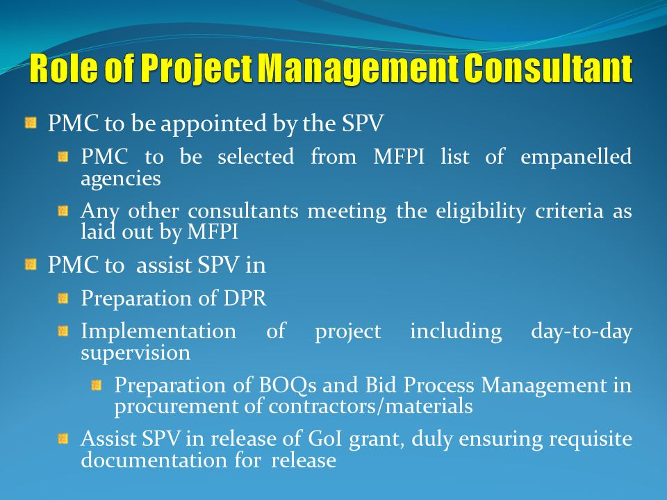 Role of Project Management Consultant