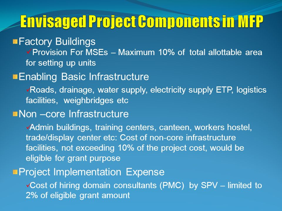 Envisaged Project Components in MFP