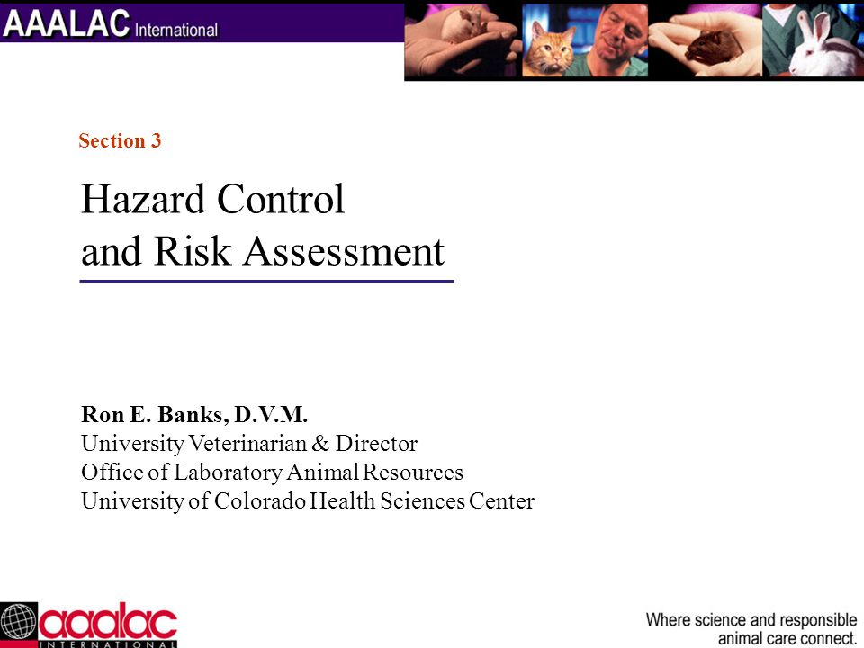 Hazard Control and Risk Assessment Ron E. Banks, D.V.M.