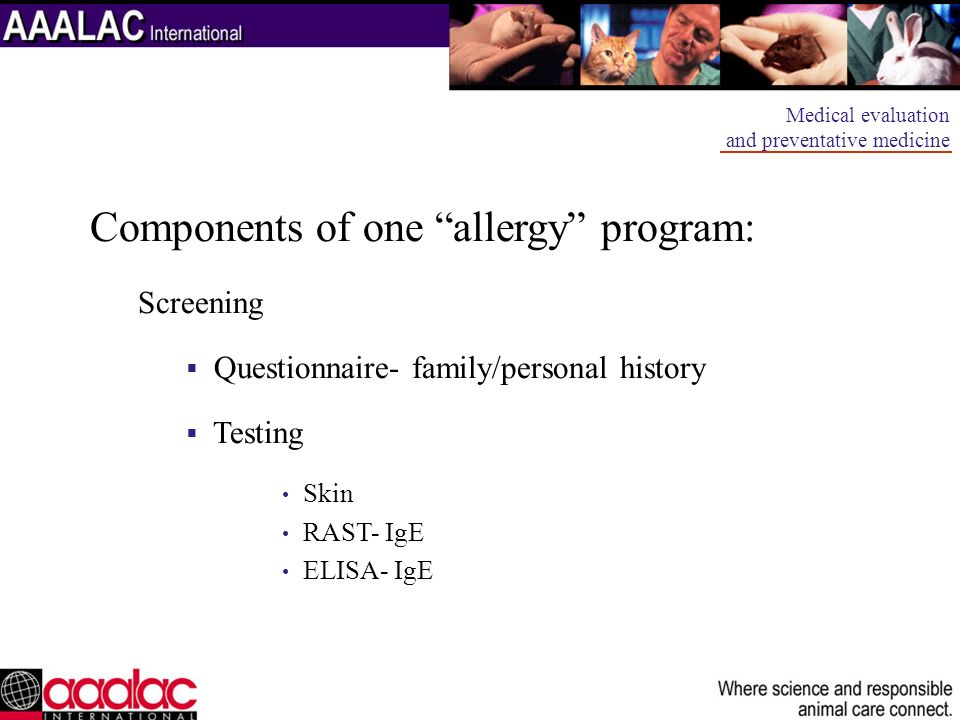Components of one allergy program:
