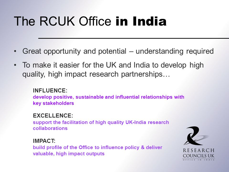 The RCUK Office in India