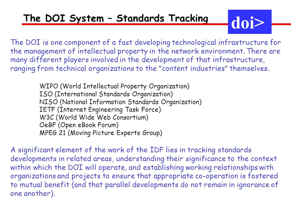 The DOI System – Standards Tracking