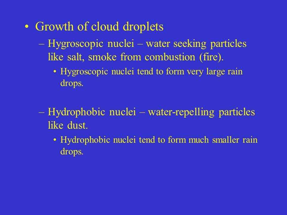 Growth of cloud droplets