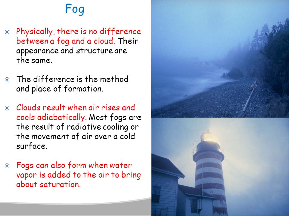 Fog Physically, there is no difference between a fog and a cloud. Their appearance and structure are the same.