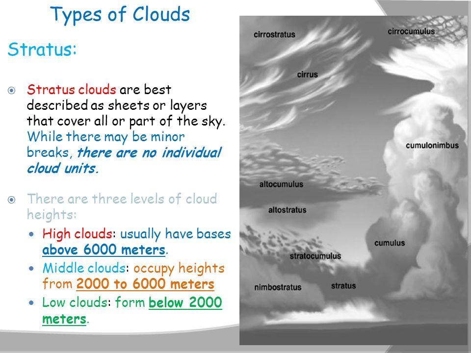 Types of Clouds Stratus: