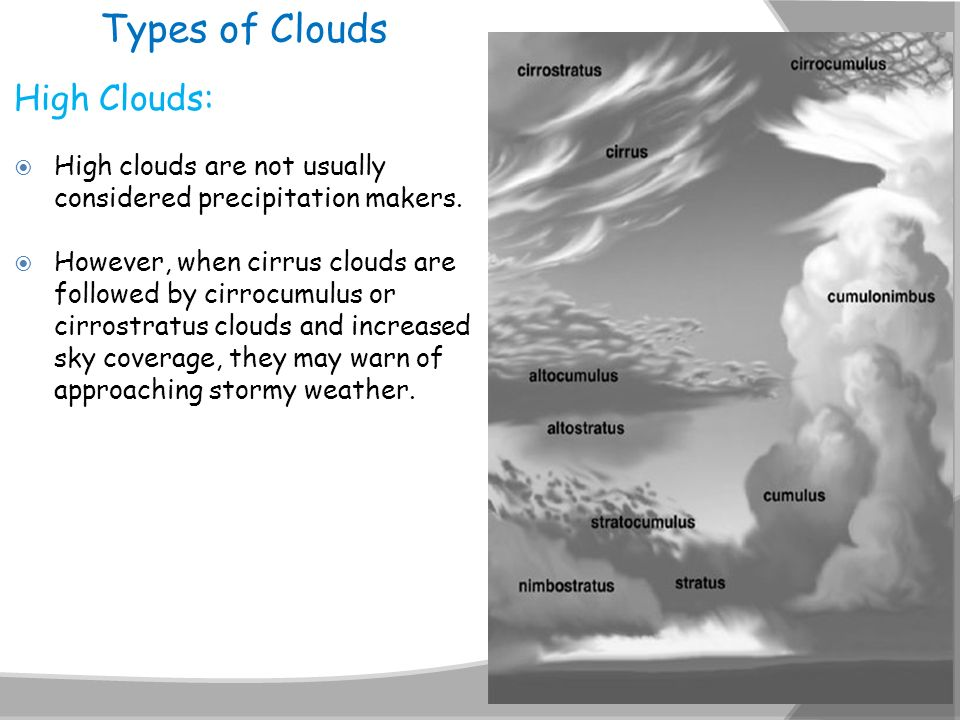 Types of Clouds High Clouds:
