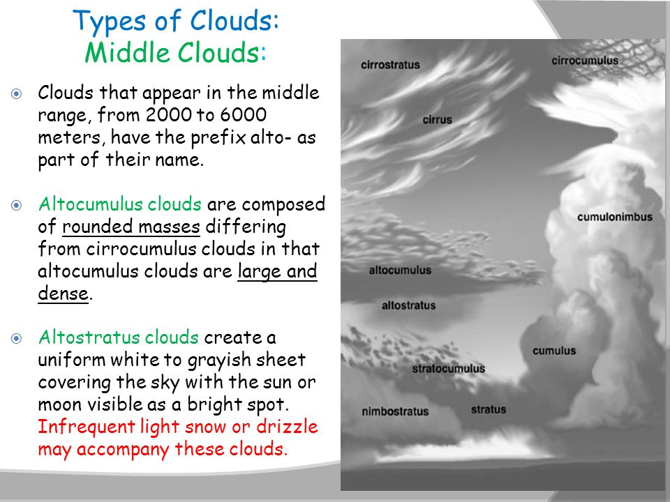 Types of Clouds: Middle Clouds: