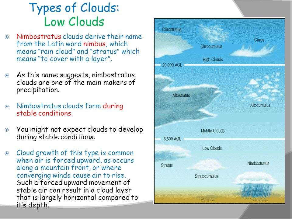 Types of Clouds: Low Clouds