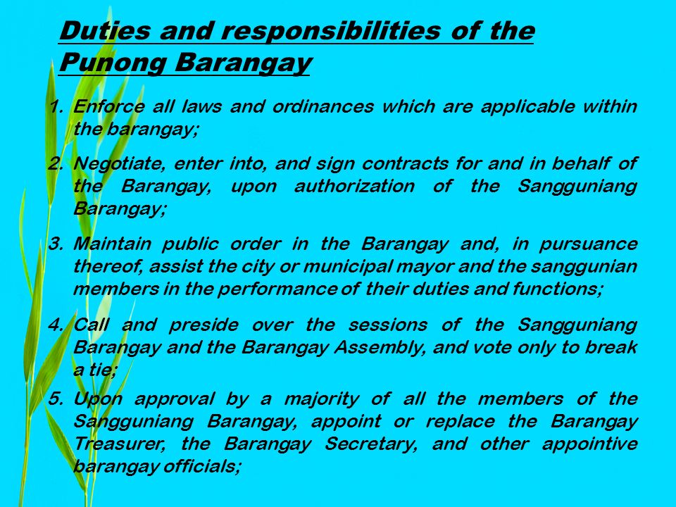 Barangay Governance and Administration - ppt download