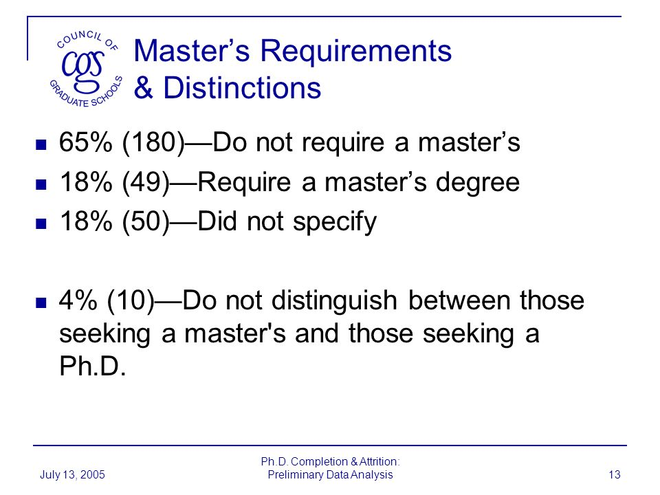 Master's Requirements & Distinctions