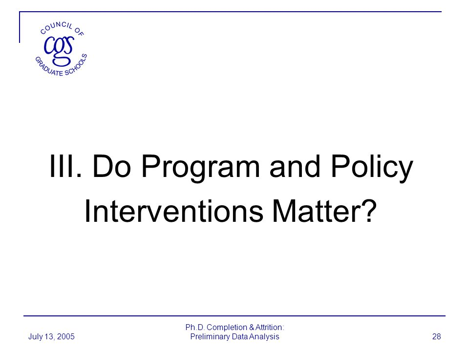 III. Do Program and Policy Interventions Matter