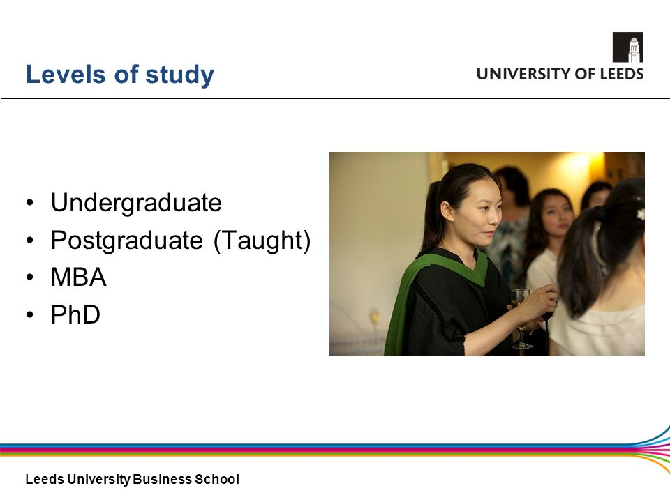 Levels of study Undergraduate Postgraduate (Taught) MBA PhD