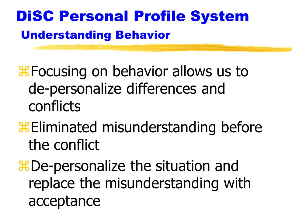 DiSC Personal Profile System Understanding Behavior