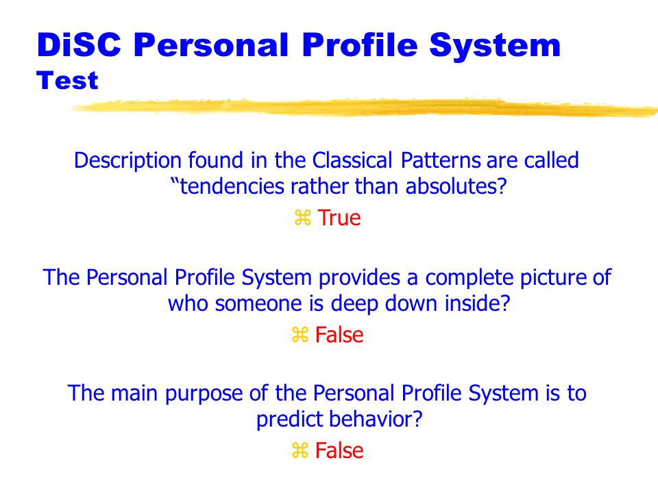 DiSC Personal Profile System Test