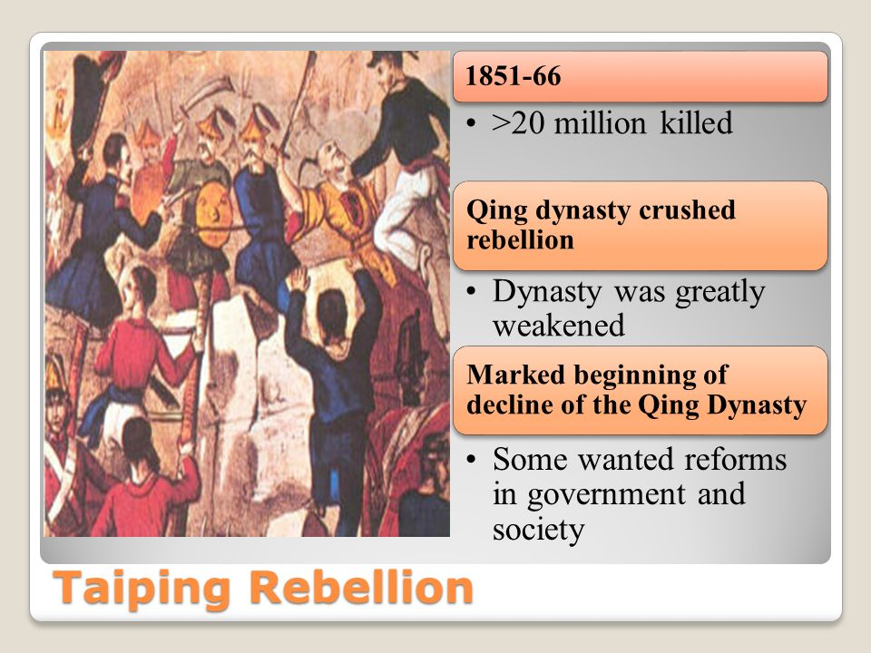 Taiping Rebellion >20 million killed Dynasty was greatly weakened
