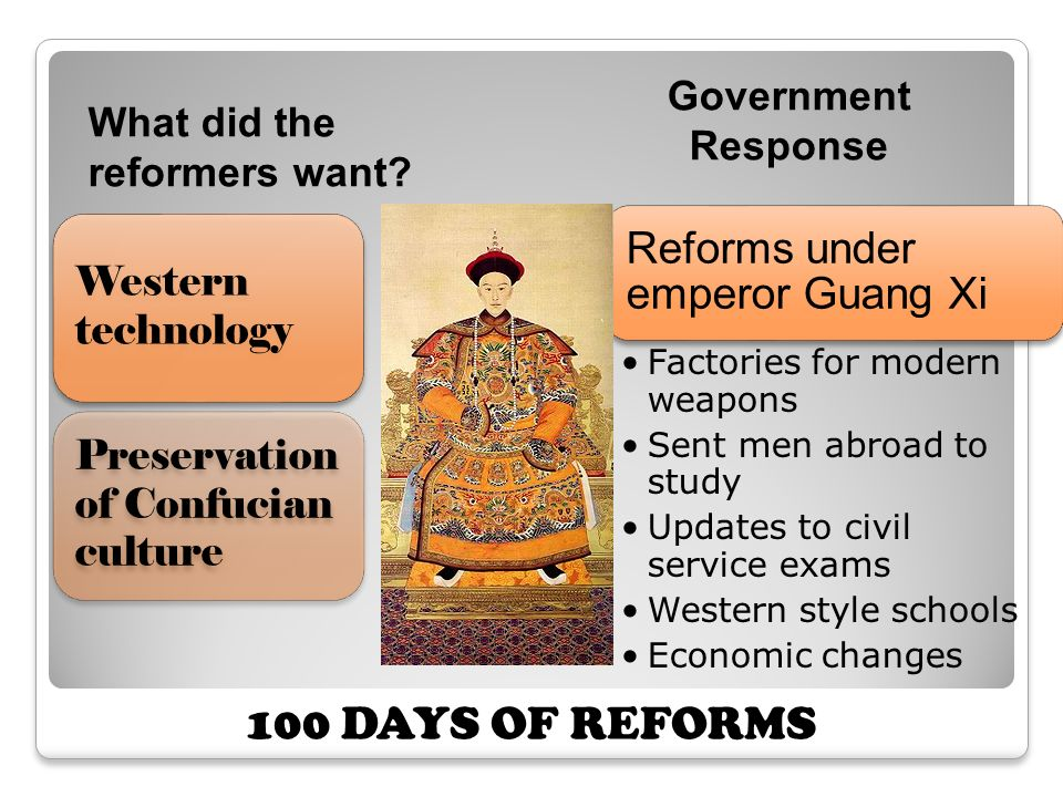 100 DAYS OF REFORMS Reforms under emperor Guang Xi Government Response