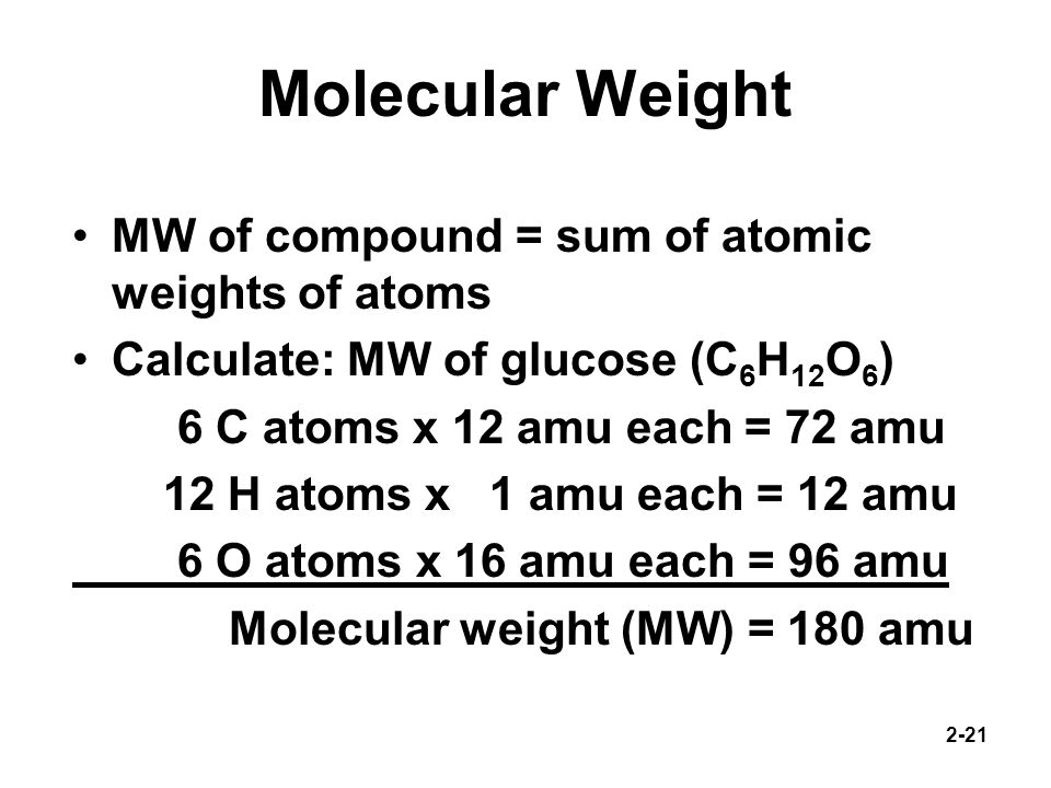 Molecular Weight MW of compound = sum of atomic weights of atoms