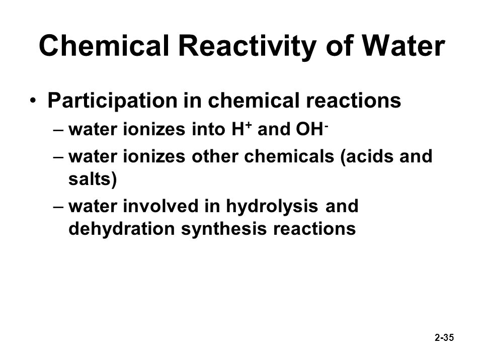 Chemical Reactivity of Water