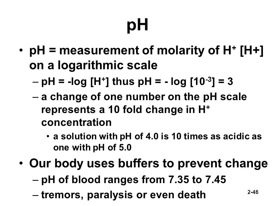pH pH = measurement of molarity of H+ [H+] on a logarithmic scale