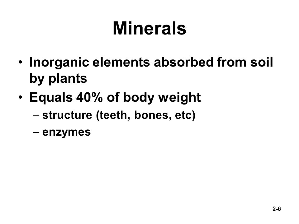 Minerals Inorganic elements absorbed from soil by plants