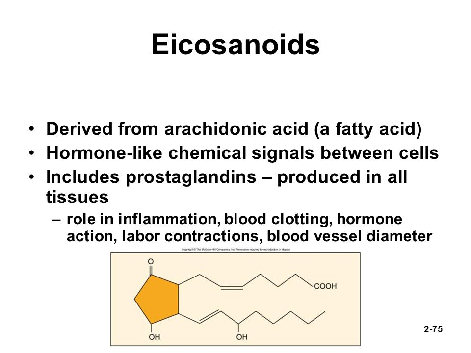 Eicosanoids Derived from arachidonic acid (a fatty acid)