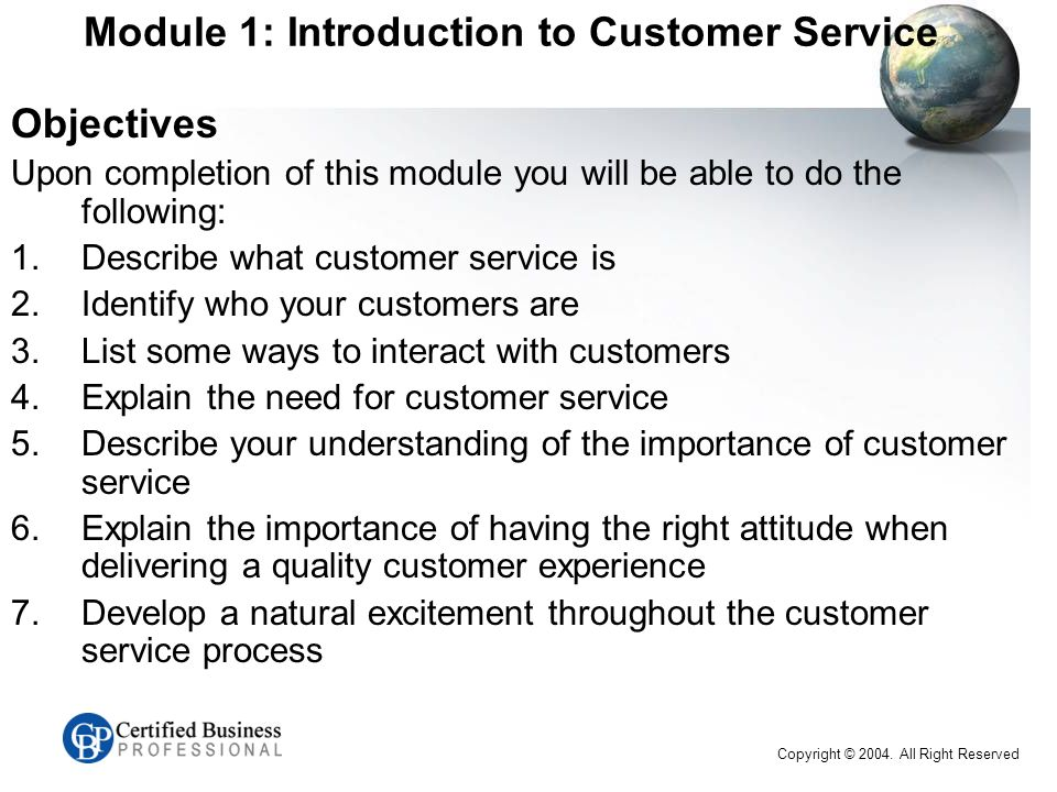 module 1 introduction to customer service