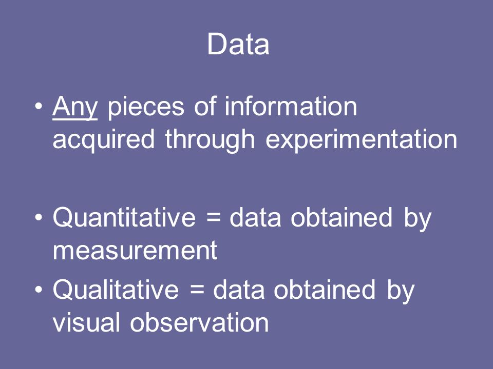 Data Any pieces of information acquired through experimentation