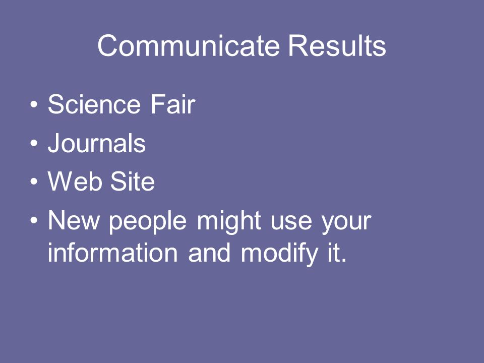 Communicate Results Science Fair Journals Web Site