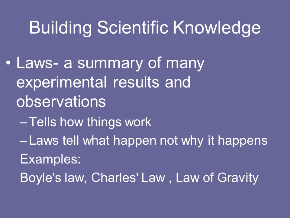 Building Scientific Knowledge