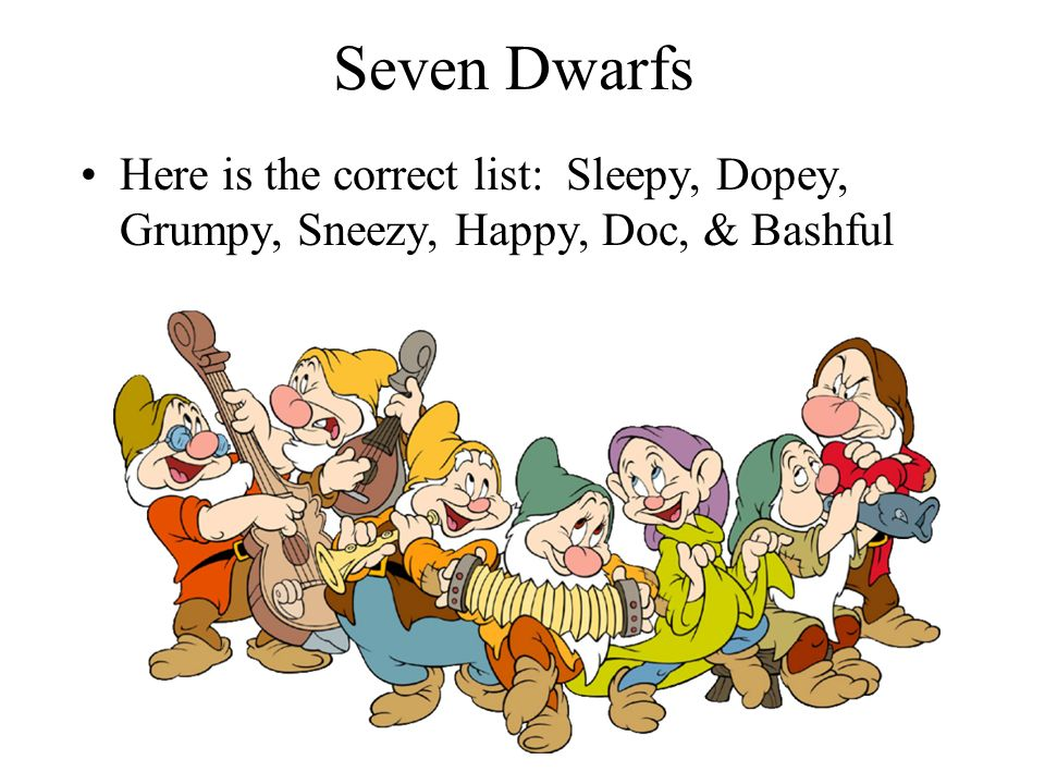 seven dwarfs can you name the seven dwarfs in your notebook write