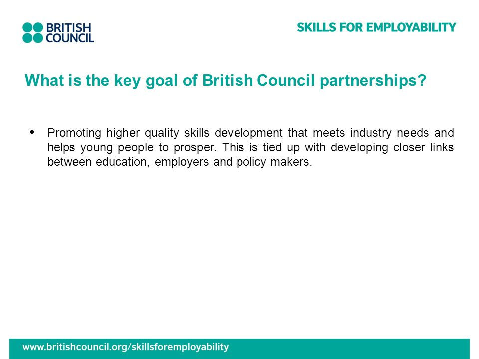 What is the key goal of British Council partnerships