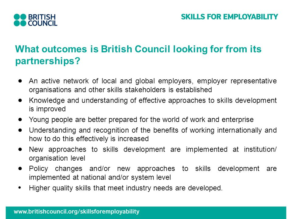 What outcomes is British Council looking for from its partnerships
