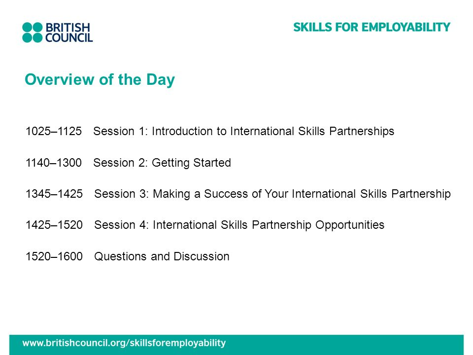Overview of the Day 1025–1125 Session 1: Introduction to International Skills Partnerships. 1140–1300 Session 2: Getting Started.
